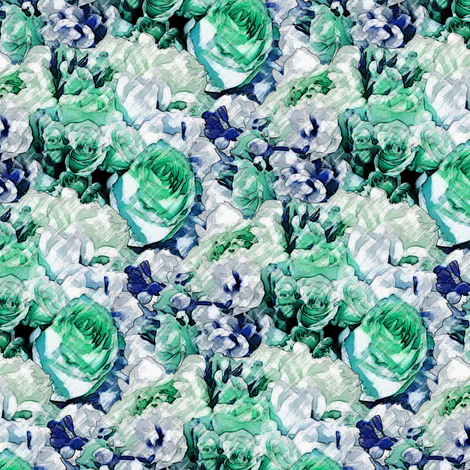Lush Garden - Cool Mint fabric by inscribed_here on Spoonflower - custom fabric