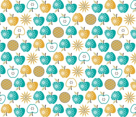 Always Time for Apple Pie - Retro Kitchen Jade fabric by inscribed_here on Spoonflower - custom fabric