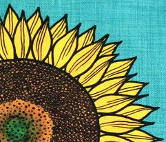 Sunflower on linen look