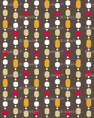 Retro Kitchen Brown and Red Bead Curtain