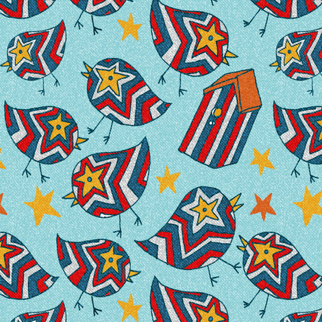 Fun Fourth Birds fabric by kdl on Spoonflower - custom fabric