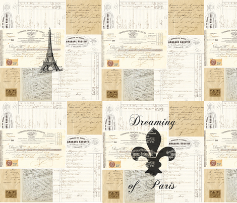 French_eph_collage_for_fabric fabric by 13moons_design on Spoonflower - custom fabric