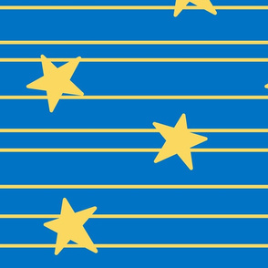 Gold stars and stripes- Large - royal blue