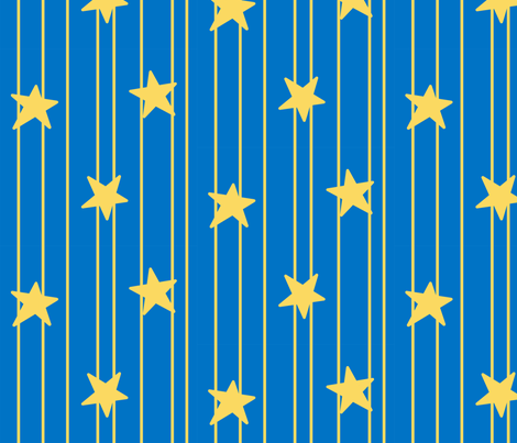 Gold stars and stripes - Royal blue fabric by victorialasher on Spoonflower - custom fabric