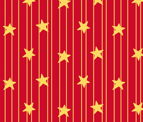 Gold stars and stripes - red