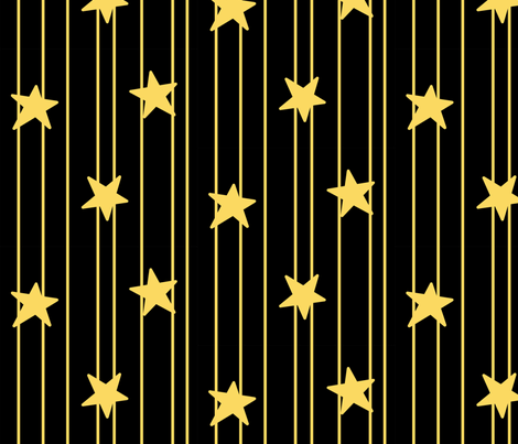 Gold stars and stripes - black fabric by victorialasher on Spoonflower - custom fabric
