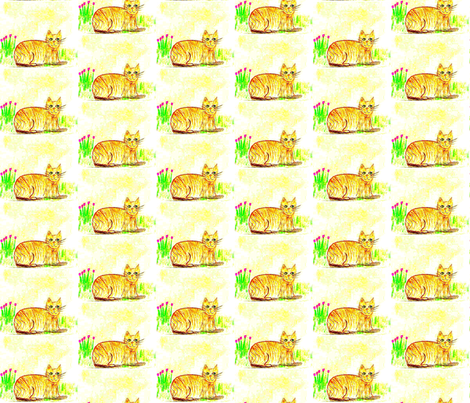 Here Kitty, Kitty, Kitty fabric by anniedeb on Spoonflower - custom fabric