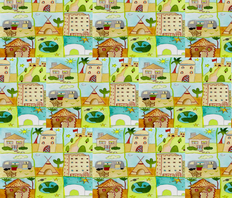DWELLINGS fabric by bluevelvet on Spoonflower - custom fabric