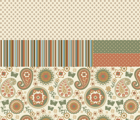 Retro Garden Naturals Combo 2 fabric by stitchwerxdesigns on Spoonflower - custom fabric