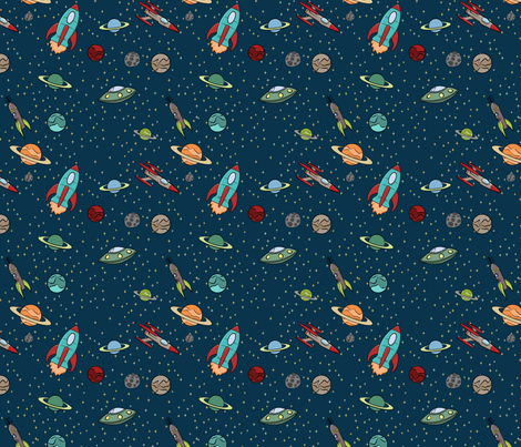 Retro Space Fabric fabric by indelibleink on Spoonflower - custom fabric