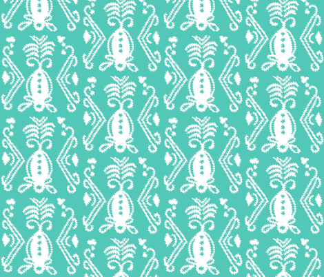 Pineapple Ikat Aqua fabric by lulabelle on Spoonflower - custom fabric