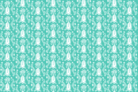 Pineapple Ikat Sea Glass fabric by lulabelle on Spoonflower - custom fabric