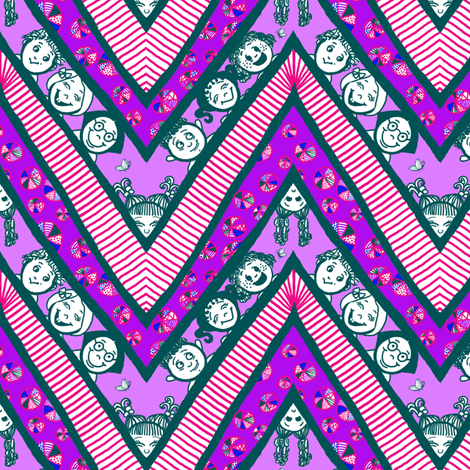 Zig-Zaggy Kids: Medium fabric by tallulahdahling on Spoonflower - custom fabric