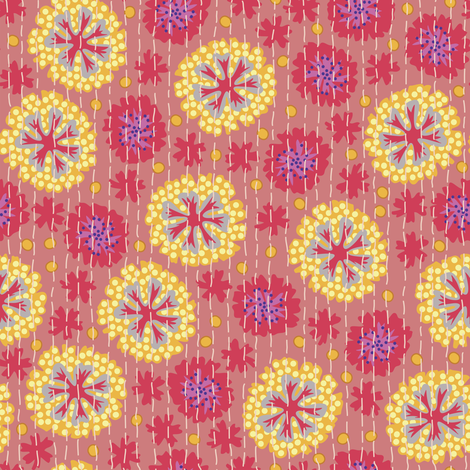 Kantha Floral 7 fabric by bee&lotus on Spoonflower - custom fabric