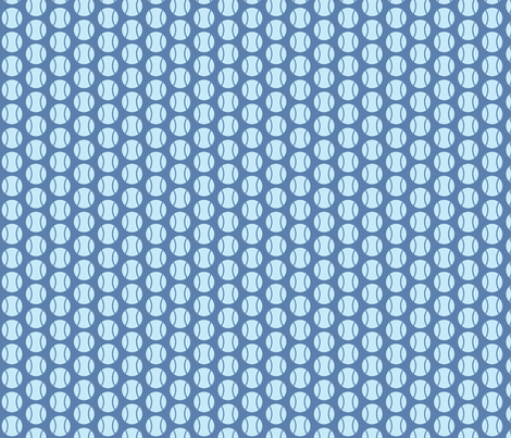 Small Half-Drop Blue Tennis Balls fabric by audreyclayton on Spoonflower - custom fabric