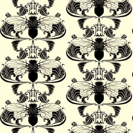 Original Cicada Damask fabric by redsixwing on Spoonflower - custom fabric