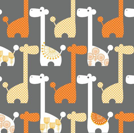 Mod Giraffes in Grey and Orange fabric by natitys on Spoonflower - custom fabric