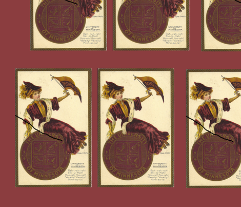 Minnesota University Postcard c1900 fabric by datawolf on Spoonflower - custom fabric