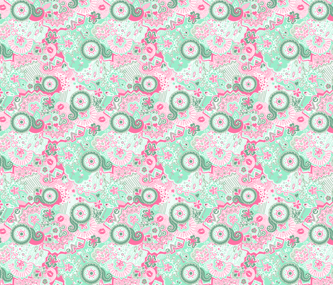 Flamingo Paradise Mint fabric by johanna_lange_designs on Spoonflower - custom fabric