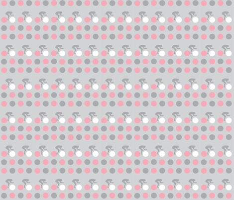 Cycle Racers Pink Grey Dot fabric by smuk on Spoonflower - custom fabric
