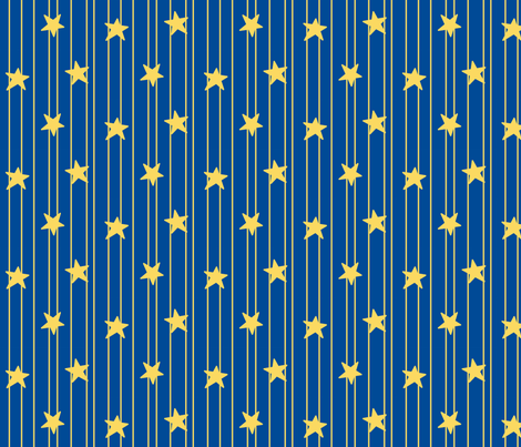Gold stars and stripes - navy fabric by victorialasher on Spoonflower - custom fabric