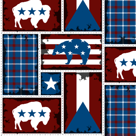 All-American Bison and Bear fabric by fig+fence on Spoonflower - custom fabric