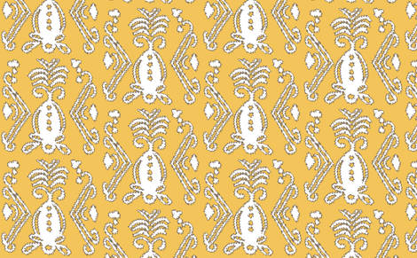 Pineapple Ikat Saffron fabric by lulabelle on Spoonflower - custom fabric