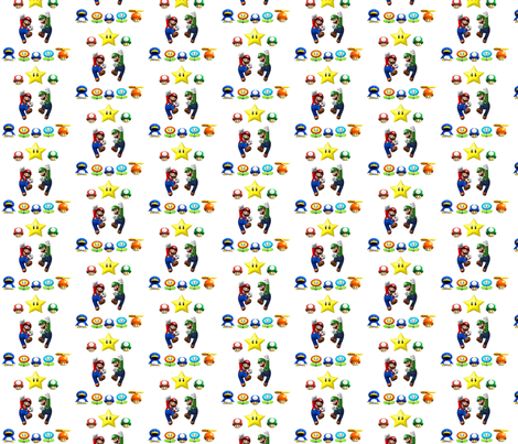 Mario_design_white fabric by reganraff on Spoonflower - custom fabric