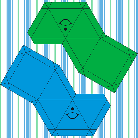 Happy Face Pyramid Swatch Toy- Blue and Green fabric by shala on Spoonflower - custom fabric