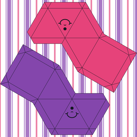 Happy Face Pyramid Swatch Toy-Pink and Purple fabric by shala on Spoonflower - custom fabric