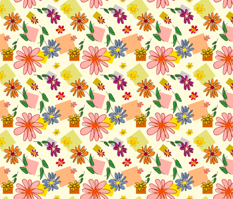Flowers and Squares fabric by donnamarie on Spoonflower - custom fabric