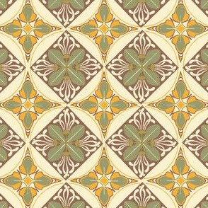 Art Nouveau Wallflowers Diamonds - rust and leaves