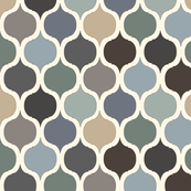 Moroccan Tile Print - Blue/Grey/Green