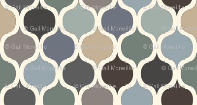 Moroccan Tile Print - Blue/Grey/Green