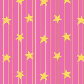 Gold stars and stripes - dark pink