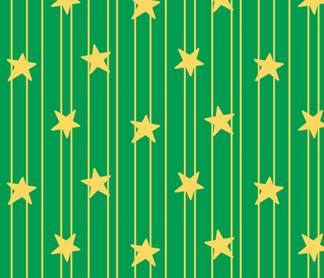 Gold stars and stripes - green