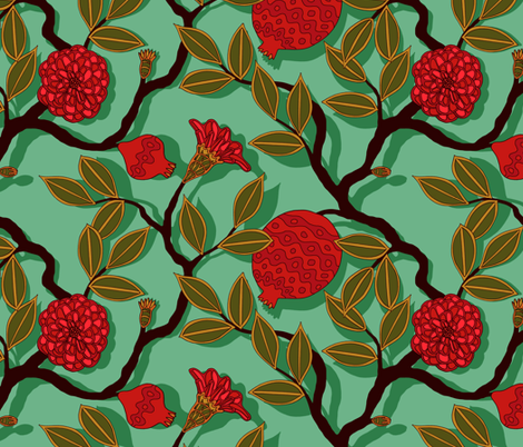 pomegranate fabric fabric by lilichi on Spoonflower - custom fabric