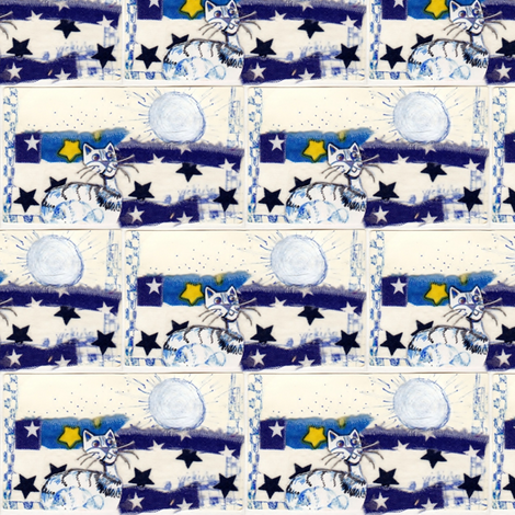 Sunshine and Blue Tabby_ fabric by vickiejofranks on Spoonflower - custom fabric