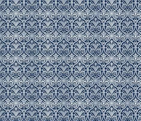 Italianate blue fabric by flyingfish on Spoonflower - custom fabric
