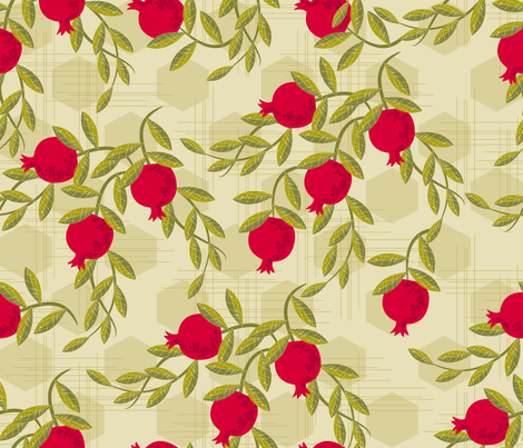 Trailing Pomegranates fabric by retrorudolphs on Spoonflower - custom fabric