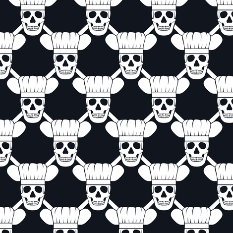 Chef Skull Design in Black fabric by shala on Spoonflower - custom fabric