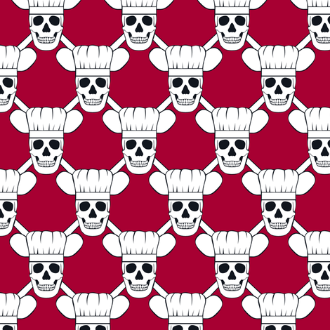 Chef Skull Design in Red fabric by shala on Spoonflower - custom fabric