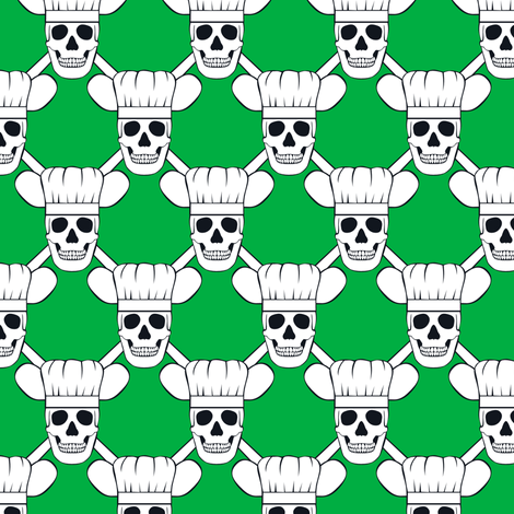 Chef Skull Design in Green fabric by shala on Spoonflower - custom fabric