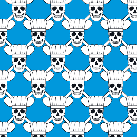 Chef Skull Design in Blue fabric by shala on Spoonflower - custom fabric