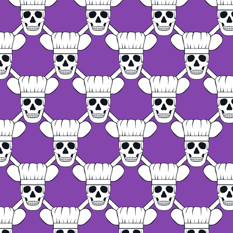 Chef Skull Design in Purple fabric by shala on Spoonflower - custom fabric