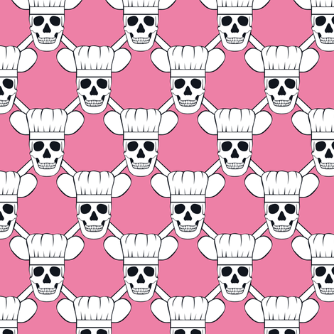 Chef Skull Design in Pink fabric by shala on Spoonflower - custom fabric
