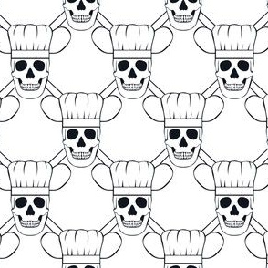 Chef Skull Design in White