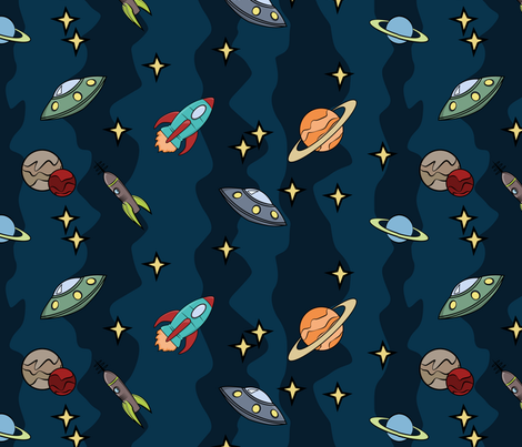 Retro space rockets and space stripe indelibleink for Space fabric