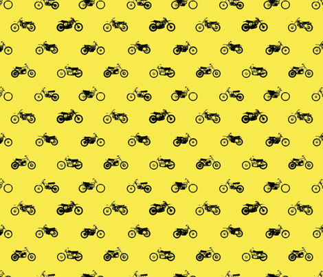 Classic motorcross bikes in yamaha yellow fabric by smuk on Spoonflower - custom fabric