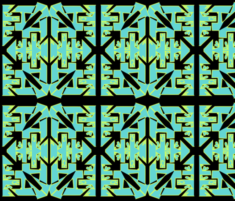 art deco geometric in aqua Blue fabric by rcm-designs on Spoonflower - custom fabric
